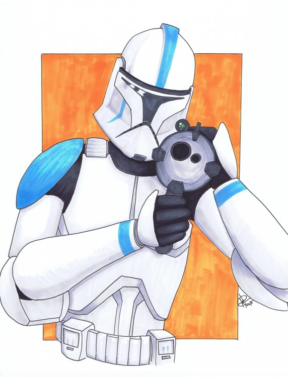 """Clonetrooper"" Pencil and ink 2015 ©2015 Rob Langille (characters copyright respective owners)"