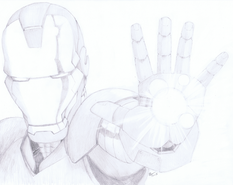"""Iron Man"" Pencil September 2015 ©2015 Rob Langille Art (characters copyright respective owners)"