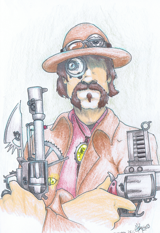 """Steampunk Johnny Ringo"" Sketchbook 001 - Pencil and ink November 25th, 2013 ©2015 Rob Langille"
