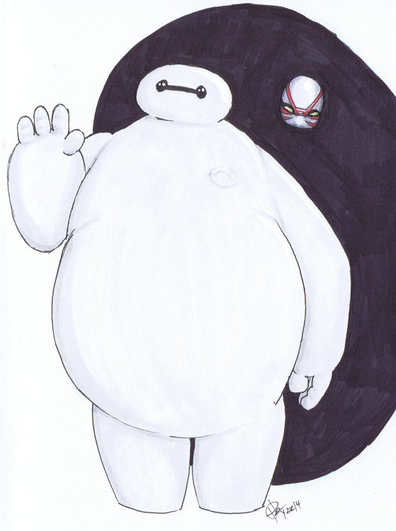 """Baymax + Friend"" Sketchbook 001 - Pencil and Ink December 24, 2014 ©2015 Rob Langille (characters copyright respective owners)"