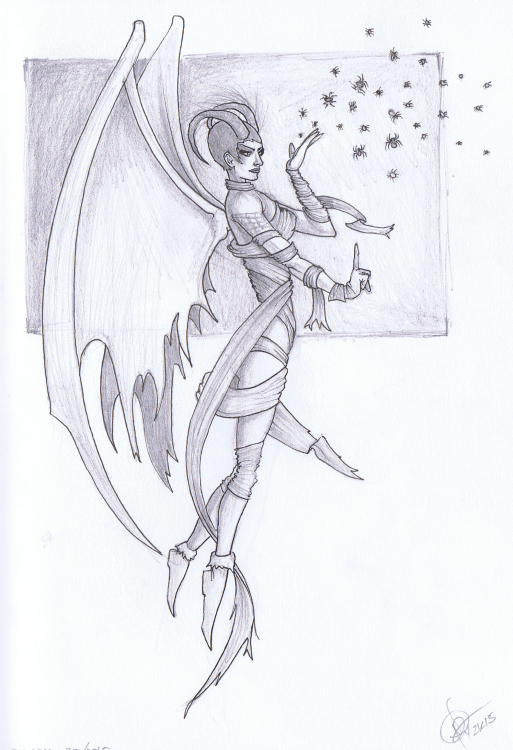 """Araneamora: Spider Faerie of the Malope Forest"" Sketchbook 001 - Pencil and Ink September 25, 2015 ©2015 Rob Langille"