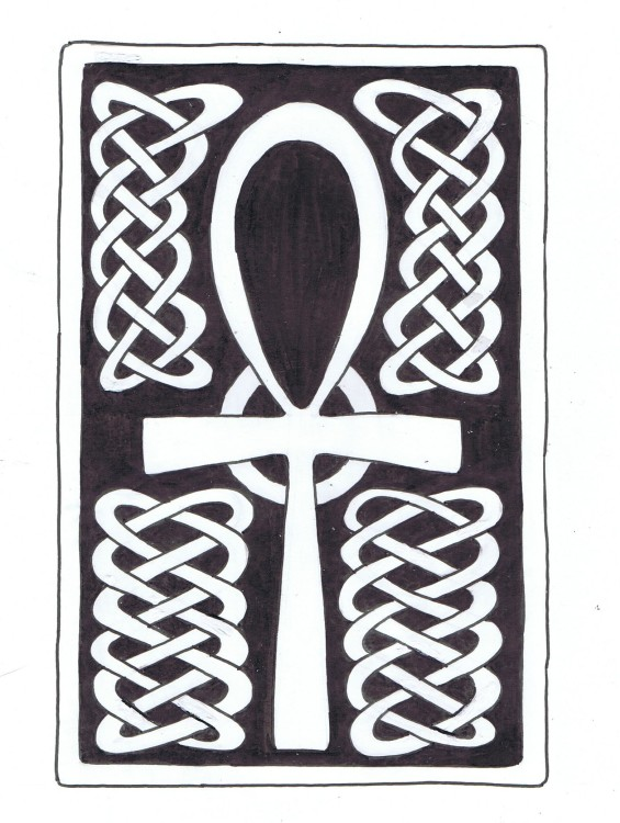 """Celtic Ankh Tattoo Commission"" Pencil and Ink 2014 ©2015 Rob Langille"